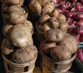 Root vegetables and tubers like potatoes, carrots, turnips, and parsnips and onions