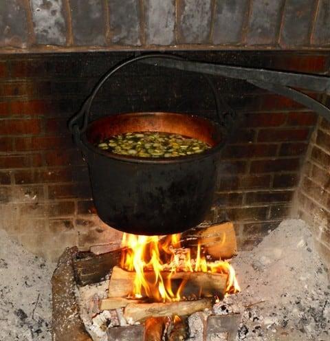 Heating food on large pot