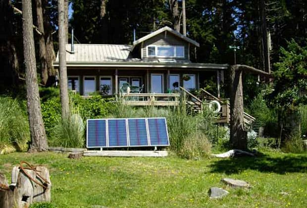 Solar panels outside house