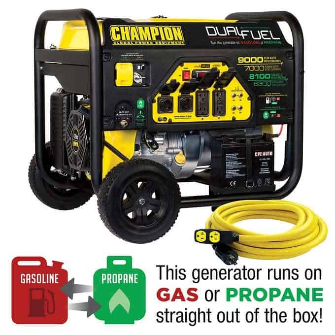 Champion Dual Fuel 9000 Watt Gas and Propane Generator