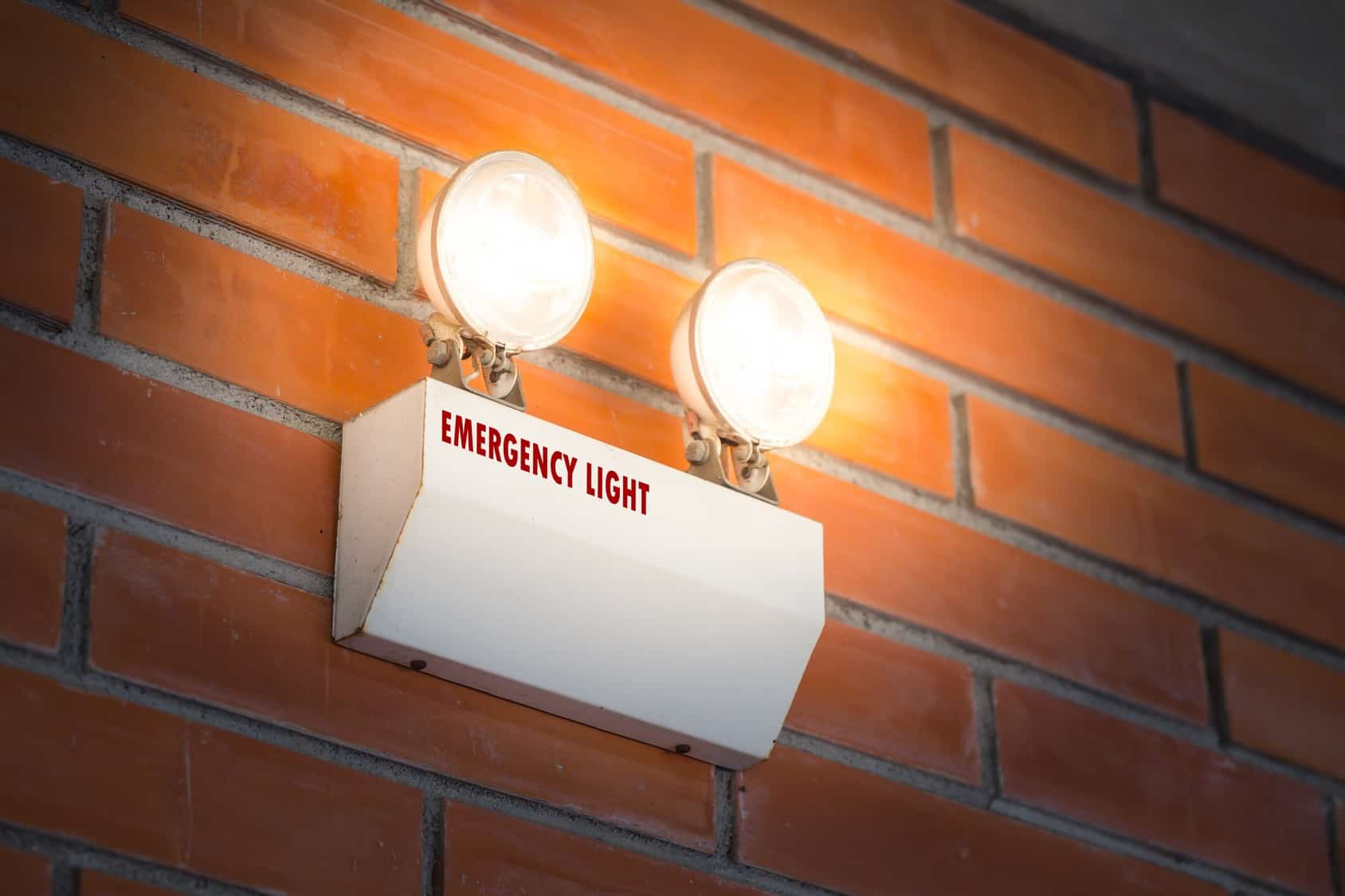 Emergency light on wall
