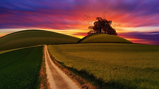 Beautiful hills and sunset